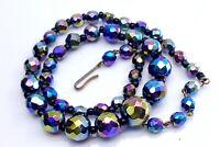 Vintage Czech Iridescent Glass beads necklace