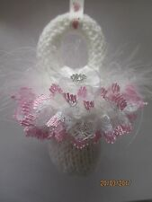 Pram Charm Handmade Knitted Dummy Boy or Girl - White with Pink Lace