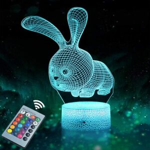 Rabbit 3D Night Light LED Illusion Lamp 16 Color Changing Dimmable for Kids GIFT