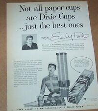 1956 print ad page -Dixie Cups home cup dispenser EMILY POST vintage Advertising