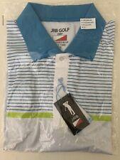 NEW - JRB Golf Blue Mix Dry Fit Striped Short Sleeve Golf Polo Shirt - M / L
