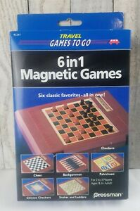 Vintage 1993 Pressman 6 in 1 Travel Magnetic Games #2261 Chess Parcheesi & More