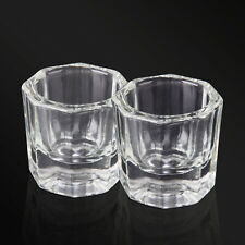 2pcs Glass Crystal Bowl Cup Dappen Dish Arcylic Nail Art Liquid Powder Container