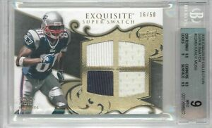 2008 Exquisite Collection Randy Moss Super Swatch Quad Jersey #'ed 16/50 BGS 9