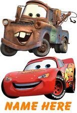 DISNEY CARS MATER & MCQUEEN PERSONALISED T SHIRT TRANSFER FOR WHITE/LIGHT COTTON