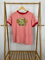 VTG Anvil 80s Firefighter Truck Ringer Thin Short Sleeve T-Shirt Size L