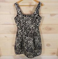 Francesca's Collection Women's Sz M Black Metallic A Line Dress Floral Cute!