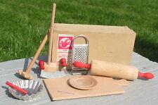 Vtg Antique East Germany Wood Wooden Baking Dish Utensils Toy Miniature Box Set