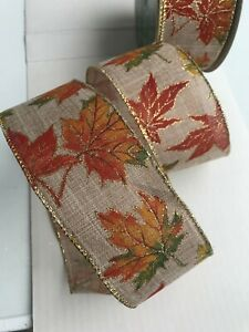 Wire - Edged Ribbon 6.3cm / 2.5 in  Autumn Leaves