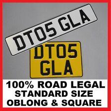 Oblong & Square Car Pair Metal Aluminium Number Plates Pressed Embossed Legal