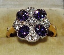 9ct Yellow Gold on Silver Amethyst & Zircon Art Deco Design Cluster Ring size R
