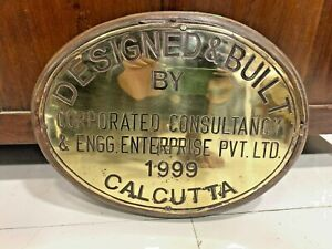 vintage marine brass ship salvage nautical name plate of calcutta 1999