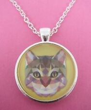 Kitty Cat Triangle Design Silver Pendant Glass Necklace New in Gift Bag Animal
