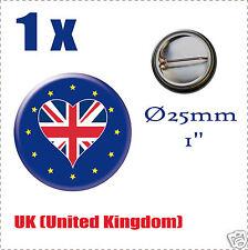 Badge Ø25mm Pays de l'europe des 28, drapeau en forme de coeur United Kingdom