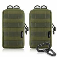 FUNANASUN 2 Pack Molle Pouches Tactical Compact Water Resistant EDC Pouch Oli...