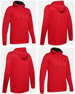 Under Armour Mens Fleece Hoodie Gym Pullover Sports Top Hoody Red