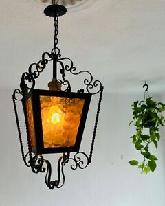 "✨ 20"" Spanish Revival Wrought Iron Lantern Amber Yellow Glass Gothic Santa Fe"