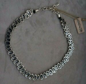 NWT Uno De 50 Grey Elements Crystal THE BEAST Short Silver Necklace RP $909