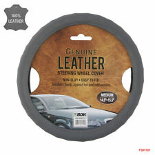 New Genuine Leather Car Truck Universal Fit Steering Wheel Cover - Color Gray