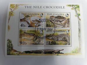 Gambia--WWF Nil Krokodile -Block gestempelt