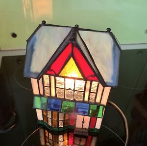 """Small Table lamp: house in Tiffany Style Height 7"""" No Box..."""