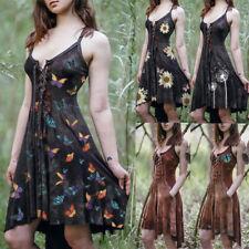 Women Vintage Dress Medieval Irregular Sleeveless Printed Lace Up Vestidos Dress