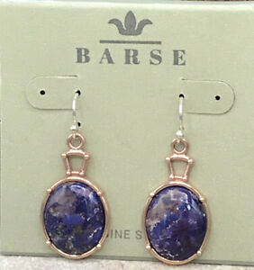 Barse Fitzhugh Purple Turquoise Oval Earrings- Copper-SS Ear Wires- NWT
