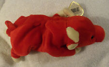 "LOT # 1087 TY Red Bull ""SNORT"" PLUSH Beanie Babies toy approx 9"" inches (1995)"