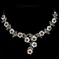 925 Silber Collier, Weisgold beschichtet, Echte Perlmutter Perlen Smaragd Granat