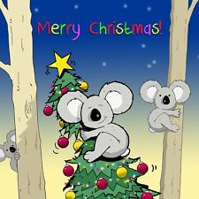 Merry Christmas Card with Koala Bears -Funny Christmas Card -Xmas Card -Hugs