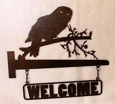 2 PC OWL Welcome Sign for Post or Wall Plasma Cut Metal Art Wildlife Bird