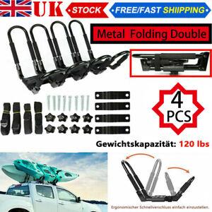4X Folding Adjustable Kayak / Canoe Carrier for Car Roof Rack J Bars and Straps