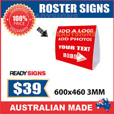 Custom Corflute Roster Signs - Medium 600mm x 460mm x 3MM - Ready Signs