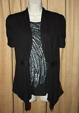 NEW Womans Size M (8-10) Black & Silver Duet Top Wing theme by Cocomo