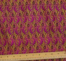 "Gold/Fuchsia Silk Brocade Jacquard 100% Silk Fabric 44"" Wide, By Yard (JD-362)"