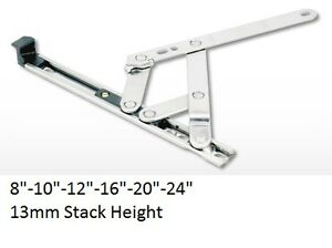 """1PAIR 8"""" TOP HUNG WINDOW HINGES FRICTION STAYS 13MM STACK HEIGHT"""