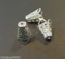 LOT 3 PERLE METAL ARGENT BOUCLE D'OREILLE 15 mm OVAL SILVER COLOR BEAD FINDINGS