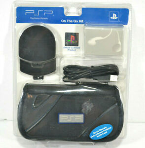 NEW PSP PlayStation Portable On The Go Starter Kit Black Case Earbuds Charger