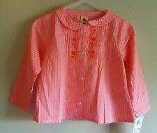NWT Osh Kosh Girls 18 MONTHS Long Sleeve Button Down Shirt NEON PINK New #214616