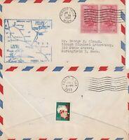 US 1953 AM 86 FIRST FLIGHT FLOWN AIR MAIL COVER FERGUS FALLS TO FARGO