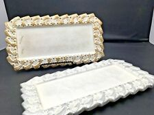 """2 Rectangular Silver & Gold Christmas Plates Trays Votive Candle Holder 10"""" x 5"""""""