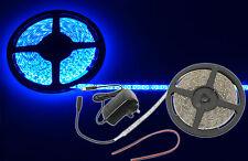Blu 5m 300 LED/BOBINA 3528 SMD ip68 Impermeabile Striscia Nastro Luce Completa Kit fai da te natale