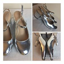 M&S Collection Metallic Silver Faux Leather Block Heel Slingback Sandals UK 6.5