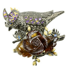 NATURAL AAA COGNAC QUARTZ, SAPPHIRE & AMETHYST STERLING 925 SILVER BIRD BROOCH