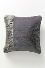 "NWT Anthropologie Dark Gray 20"" x 20"" Tara Faux Fur Pillow"