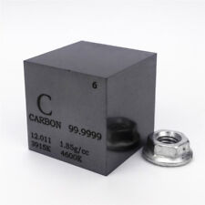 1 inch 25.4mm Ultrapure Carbon Cube 30grams 99.9999% Engraved Periodic Table