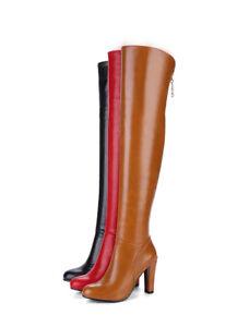 Ladies Clubwear Shoes Synthetic Leather High Heel Zip Up Over Boots US Size b154