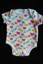 Baby clothes GIRL 0-3m white/bright hearts bodysuit/top short sleeves SEE SHOP!