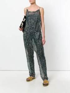 HUMANOID NWOT $365 Sonne Ocean Blue Sheer Silk Printed Sleeveless Jumpsuit XS