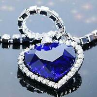 Titanic Heart Of The Ocean Sapphire Blue CZ Crystal Necklace Pendant Fashion Hot